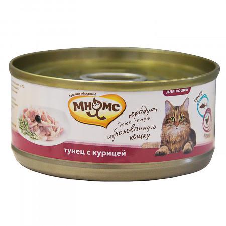 Влажный корм для кошек Мнямс Тунец с курицей (кусочки в желе) 70 г