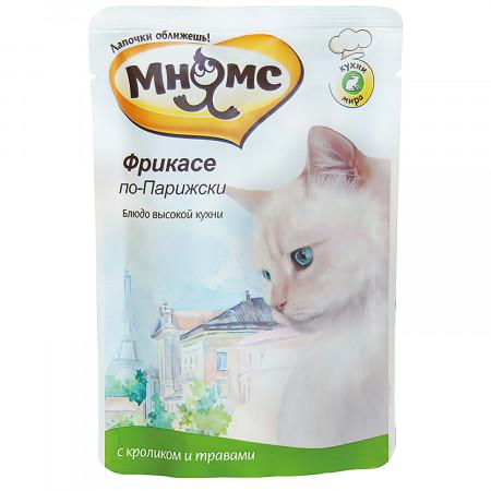 Влажный корм для кошек Мнямс Кухни мира Фрикасе по-парижски с кроликом с травами 85 г