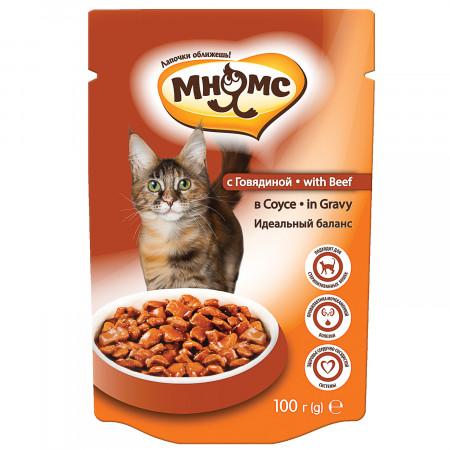Влажный корм для кошек Мнямс Идеальный баланс, профилактика МКБ, с говядиной (кусочки в соусе) 100 г