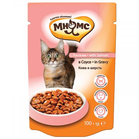 Влажный корм для кошек Мнямс Кожа и шерсть, с лососем (кусочки в соусе) 100 г