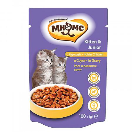 Влажный корм для котят Мнямс Рост и развитие, с курицей (кусочки в соусе) 100 г