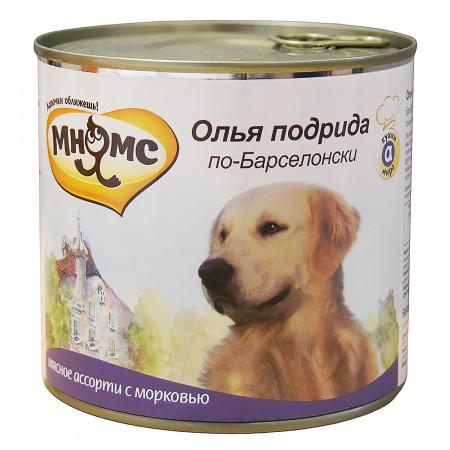 Влажный корм для собак Мнямс Кухни мира Олья Подрида по-барселонски, мясное ассорти с морковью 600 г