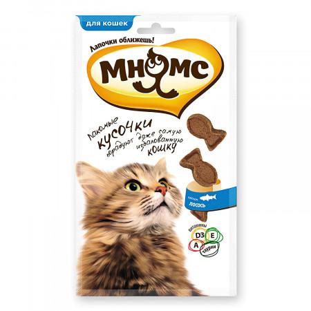 Лакомство для кошек Мнямс лакомые кусочки в форме рыбок со вкусом лосося 35 г