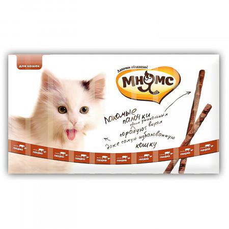 Лакомство для кошек Мнямс лакомые палочки с говядиной и печенью 10 шт., 50 г
