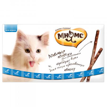 Лакомство для кошек Мнямс лакомые палочки с лососем и форелью 10 шт., 50 г