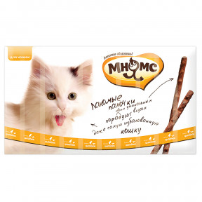 Лакомство для кошек Мнямс лакомые палочки с цыпленком и печенью 10 шт., 50 г