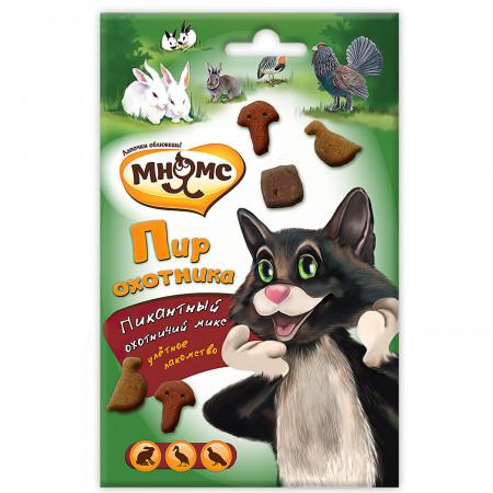 Лакомство для кошек Мнямс Пир охотника с уткой, кроликом, дичью 50 г