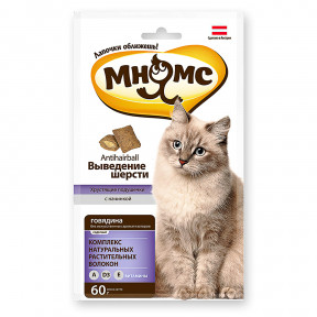 Лакомство для кошек Мнямс Хрустящие подушечки Выведение шерсти, с говядиной 60 г