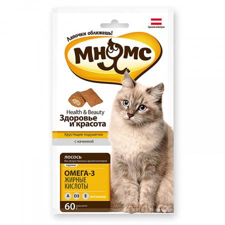 Лакомство для кошек Мнямс Хрустящие подушечки Здоровье и красота, с лососем 60 г
