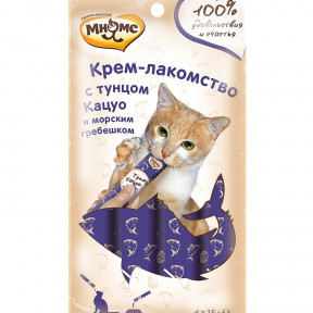 Мнямс Крем-лакомство для кошек с тунцом Кацуо и морским гребешком 60 г
