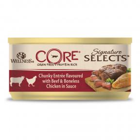 Влажный корм для кошек Wellness CORE Signature Selects беззерновой, с говядиной с курицей в виде кусочков в соусе 79 г