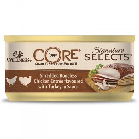 Влажный корм для кошек Wellness CORE Signature Selects беззерновой, с курицой с индейкой в виде фарша в соусе 79 г