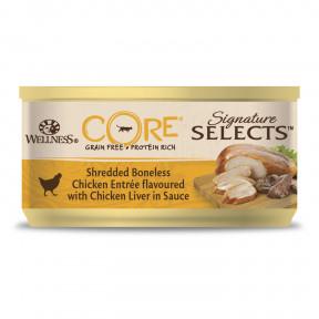 Влажный корм для кошек Wellness CORE Signature Selects беззерновой, с курицой с куриной печенью в виде фарша в соусе 79 г