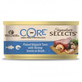 Влажный корм для кошек Wellness CORE Signature Selects беззерновой, с тунцом с креветками в виде кусочков в бульоне 79 г