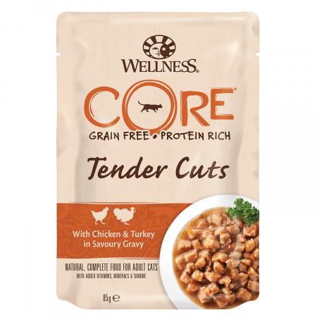 Влажный корм для кошек Wellness CORE Tender Cuts беззерновой, с курицой с индейкой в виде нарезки в соусе 85 г