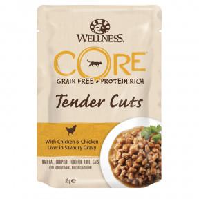 Влажный корм для кошек Wellness CORE Tender Cuts беззерновой, с курицой с куриной печенью в виде нарезки в соусе 85 г