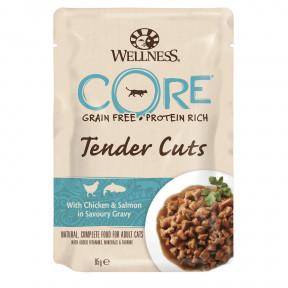 Влажный корм для кошек Wellness CORE Tender Cuts беззерновой, с курицой с лососем в виде нарезки в соусе 85 г