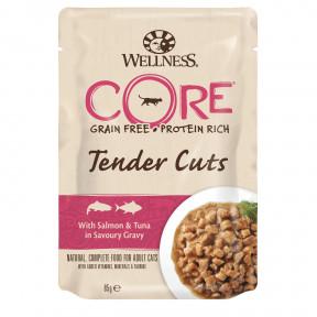 Влажный корм для кошек Wellness CORE Tender Cuts беззерновой, с лососем с тунцом в виде нарезки в соусе 85 г