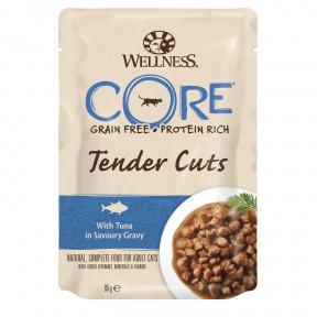 Влажный корм для кошек Wellness CORE Tender Cuts беззерновой, с тунцом в виде нарезки в соусе 85 г