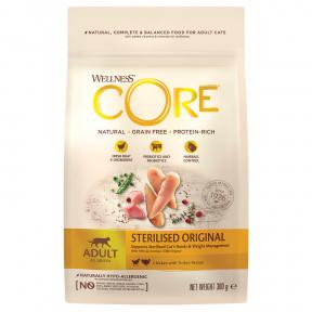 Сухой корм для стерилизованных кошек и кастрированных котов Wellness CORE Sterilized беззерновой, с курицой с индейкой 300 г