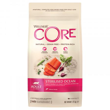 Сухой корм для стерилизованных кошек и кастрированных котов Wellness CORE Sterilized беззерновой, с лососем 1.75 кг