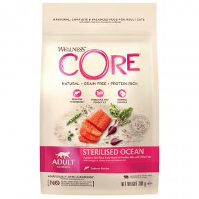 Сухой корм для стерилизованных кошек и кастрированных котов Wellness CORE Sterilized беззерновой, с лососем 300 г