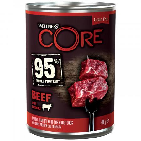 Влажный корм для собак Wellness CORE 95% Single Protein беззерновой, с говядиной с брокколи 400 г