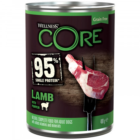 Влажный корм для собак Wellness CORE 95% Single Protein беззерновой, из ягненка с тыквой 400 г