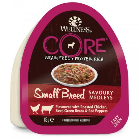 Влажный корм для собак Wellness CORE Savoury Medleys Small Breed беззерновой, с курицой с говядиной, зеленой фасолью и красным перцем (для мелких пород) 85 г