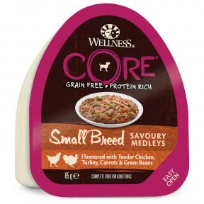 Влажный корм для собак Wellness CORE Savoury Medleys Small Breed беззерновой, с курицой с индейкой, морковью и зеленой фасолью (для мелких пород) 85 г