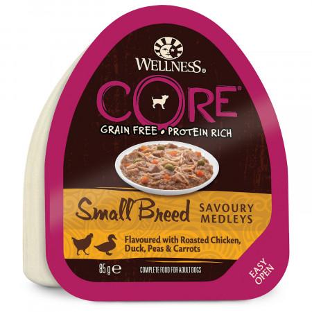 Влажный корм для собак Wellness CORE Savoury Medleys Small Breed беззерновой, с курицой с уткой, горошком и морковью (для мелких пород) 85 г