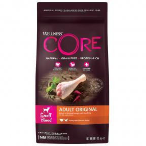 Сухой корм для собак Wellness CORE Adult Original Small Breed беззерновой, с индейкой с курицей (для мелких пород) 1,5 кг