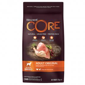 Сухой корм для собак Wellness CORE Adult Original Medium Breed беззерновой, с индейкой с курицей (для средних пород) 1,8 кг