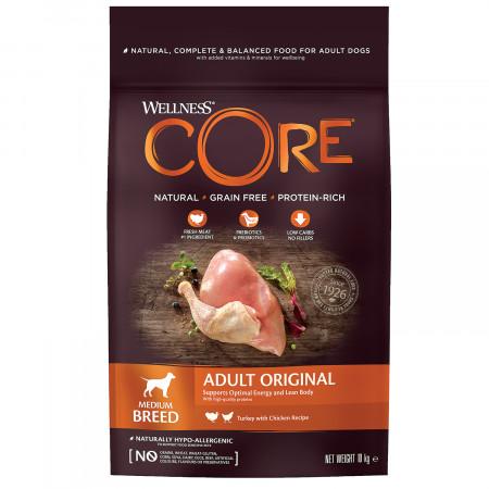 Сухой корм для собак Wellness CORE Adult Original Medium Breed беззерновой, с индейкой с курицей (для средних пород) 10 кг