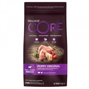 Сухой корм для щенков Wellness CORE Puppy Original Small & Medium Breed беззерновой, с индейкой с курицей (для мелких и средних пород) 1,5 кг
