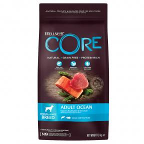 Сухой корм для собак Wellness CORE Adult Ocean Medium & Large Breed беззерновой, с лососем с тунцом (для средних и крупных пород) 1,8 кг