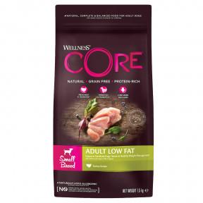 Сухой корм для собак Wellness CORE Adult Low Fat Small Breed беззерновой, при склонности к избыточному весу, с индейкой (для мелких пород) 1,5 кг