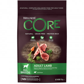 Сухой корм для собак Wellness CORE Adult All Breeds беззерновой, с ягненком 10 кг
