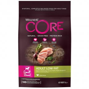 Сухой корм для собак Wellness CORE Adult Low Fat Small Breed беззерновой, при склонности к избыточному весу, с индейкой (для мелких пород) 5 кг