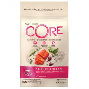 Сухой корм для стерилизованных кошек и кастрированных котов Wellness CORE Sterilized Ocean беззерновой, с лососем 4 кг