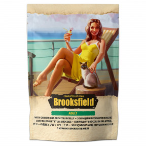Влажный корм для кошек BROOKSFIELD Adult Chicken with Broccoli беззерновой, с курицей с брокколи (кусочки в желе) 85 г