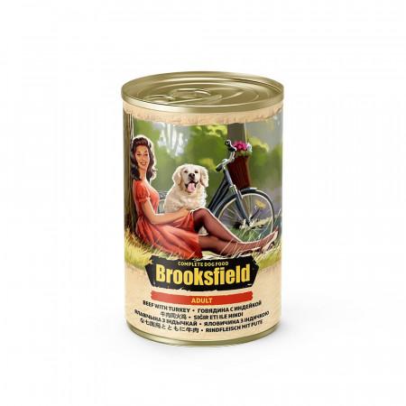 Влажный корм для собак BROOKSFIELD Adult с говядиной, с индейкой и с коричневым рисом 400 г