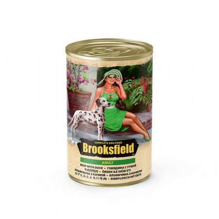 Влажный корм для собак BROOKSFIELD Adult с говядиной, с уткой и с рисом 400 г