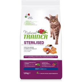 Сухой корм для стерилизованных кошек Natural TRAINER Adult Sterilized с лососем и гороховой клетчаткой 1.5 кг