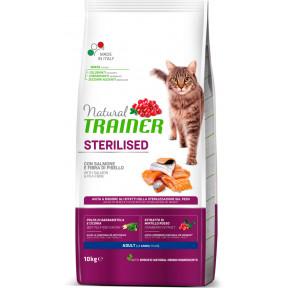 Сухой корм для стерилизованных кошек Natural TRAINER Adult Sterilized с лососем и гороховой клетчаткой 10 кг