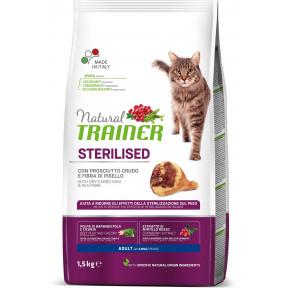 Сухой корм для стерилизованных кошек Natural TRAINER Adult Sterilized с сыровяленной ветчиной и гороховой клетчаткой 1.5 кг