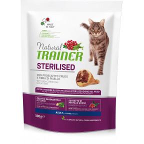 Сухой корм для стерилизованных кошек Natural TRAINER Adult Sterilized с сыровяленной ветчиной и гороховой клетчаткой 300 г