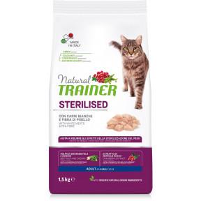 Сухой корм для стерилизованных кошек Natural TRAINER Adult Sterilized c белым мясом и гороховой клетчаткой 1.5 кг
