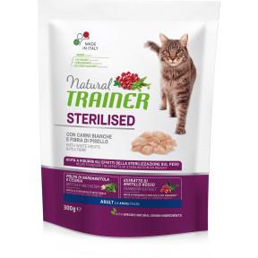 Сухой корм для стерилизованных кошек Natural TRAINER Adult Sterilized c белым мясом и гороховой клетчаткой 300 г