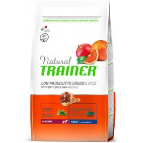 Сухой корм для собак Natural TRAINER Adult Medium c сыровяленной ветчиной и с рисом (для средних пород) 12 кг